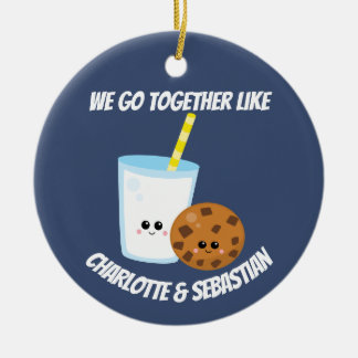 We go together like milk and cookies personalised ceramic ornament