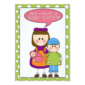 we have a baby sister! (siblings) annoucement 13 cm x 18 cm invitation card