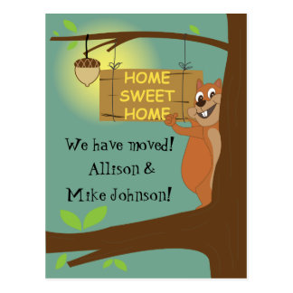 We have moved announcement design, cartoon style postcard