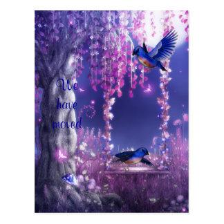 """""""We have moved"""" Blue Birds Postcard"""