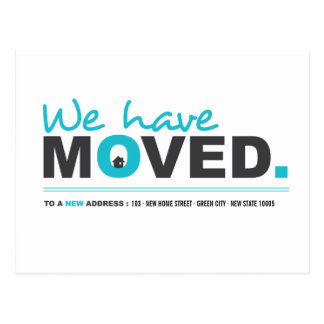We Have Moved Blue Moving Announcement Postcard