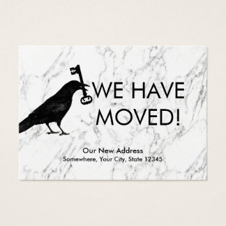 We Have Moved Crow & Key New Address Marble Insert