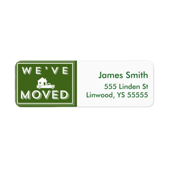 We have moved Green Graphic with Truck and House Return Address Label