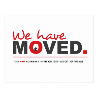 We Have Moved Red Moving Announcement Postcard