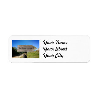 We have moved wooden sign return address label