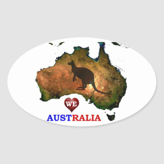 WE LOVE AUSTRALIA. OVAL STICKER