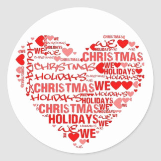 We Love Red Heart Christmas Postage Sticker