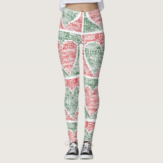 We Love The Holidays Red Green Hearts Yoga Pants