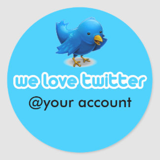 we love twitter classic round sticker