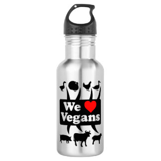 We love Vegans II (blk) 532 Ml Water Bottle