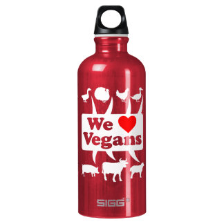 We love Vegans II (wht) Water Bottle
