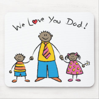 We Love You Dad Cartoon Family Happy Father's Day Mousepads
