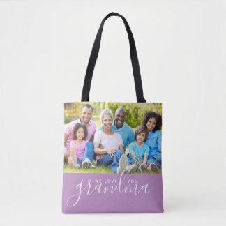 We Love You Grandma Custom Photo Mother's Day Gift Tote Bag