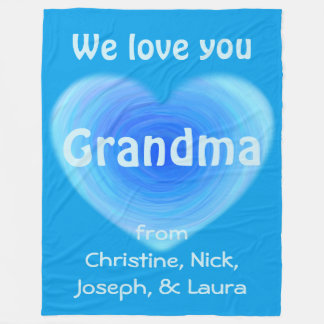 We Love You Grandma Personalised Blue Heart Fleece Blanket