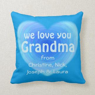 We Love You Grandma Personalised Blue Heart Throw Pillow