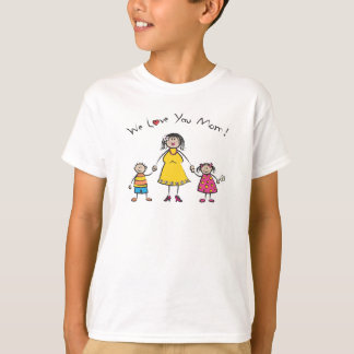 We Love You Mom Cartoon Family Happy Mother's Day T-Shirt