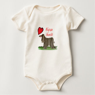 we luv afghan hounds from tony fernandes baby bodysuit