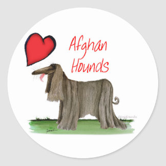 we luv afghan hounds from tony fernandes classic round sticker