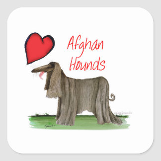 we luv afghan hounds from tony fernandes square sticker