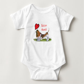 we luv basset hounds from tony fernandes baby bodysuit