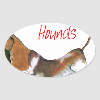 we luv basset hounds from tony fernandes oval sticker