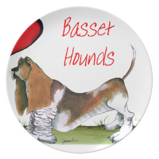 we luv basset hounds from tony fernandes plates