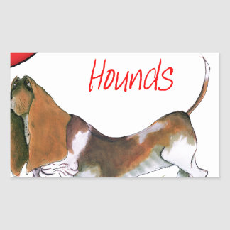 we luv basset hounds from tony fernandes rectangular sticker