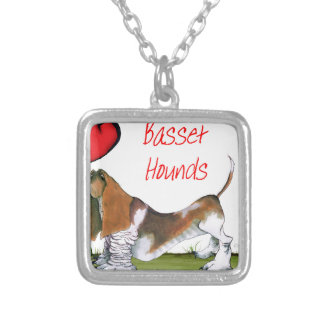 we luv basset hounds from tony fernandes silver plated necklace