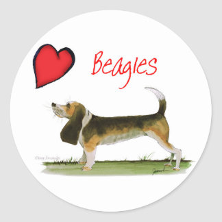 we luv beagles from tony fernandes round sticker