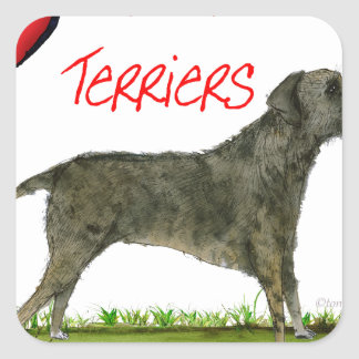 we luv border terriers from tony fernandes square sticker