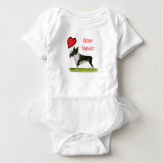 we luv boston terriers from tony fernandes baby bodysuit