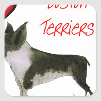 we luv boston terriers from tony fernandes square sticker