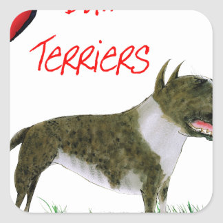 we luv bull terriers from tony fernandes square sticker