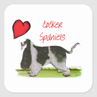 we luv cocker spaniels from tony fernandes square sticker
