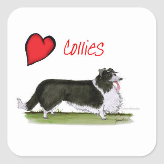 we luv collies from tony fernandes square sticker