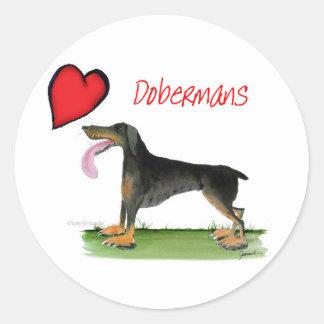 we luv dobermans from Tony Fernandes Round Sticker