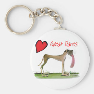 we luv great danes from Tony Fernandes Basic Round Button Key Ring
