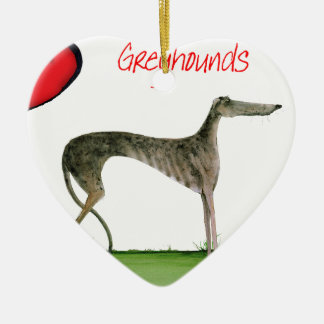we luv greyhounds from Tony Fernandes Ceramic Heart Decoration