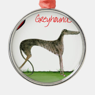 we luv greyhounds from Tony Fernandes Silver-Colored Round Decoration