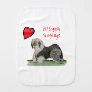 we luv old english sheepdogs, Tony Fernandes Burp Cloth