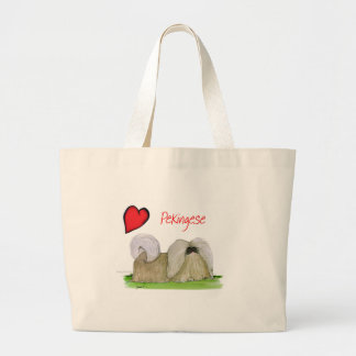 we luv pekingese from Tony Fernandes Large Tote Bag