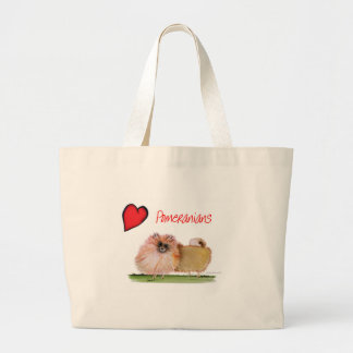 we luv pomeranians from Tony Fernandes Large Tote Bag
