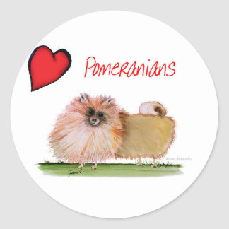 we luv pomeranians from Tony Fernandes Round Sticker
