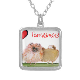 we luv pomeranians from Tony Fernandes Silver Plated Necklace