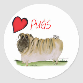 we luv pugs from Tony Fernandes Round Sticker