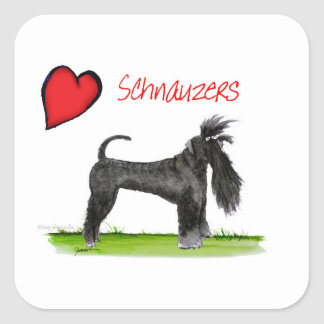 we luv schnauzers from tony fernandes square sticker