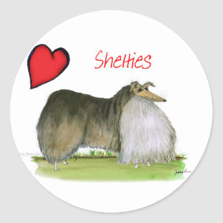 we luv shetland sheepdogs from Tony Fernandes Classic Round Sticker