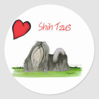 we luv shih tzus from Tony Fernandes Classic Round Sticker