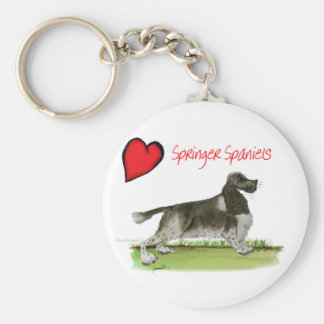 we luv springer spaniels from Tony Fernandes Basic Round Button Key Ring