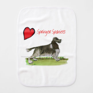 we luv springer spaniels from Tony Fernandes Burp Cloth